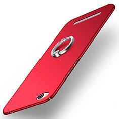 Etui Plastique Rigide Mat avec Support Bague Anneau pour Xiaomi Redmi 3 Rouge