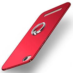 Etui Plastique Rigide Mat avec Support Bague Anneau pour Xiaomi Redmi 4A Rouge