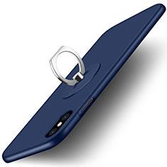 Etui Plastique Rigide Mat et Support Bague Anneau pour Apple iPhone X Bleu