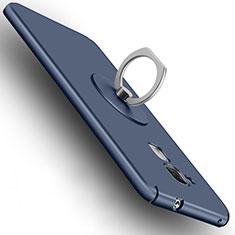 Etui Plastique Rigide Mat et Support Bague Anneau pour Huawei GR5 Mini Bleu