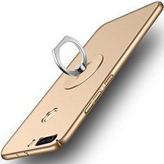 Etui Plastique Rigide Mat et Support Bague Anneau pour Huawei Honor 8 Pro Or