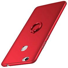 Etui Plastique Rigide Mat et Support Bague Anneau pour Huawei Honor Note 8 Rouge