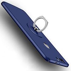 Etui Plastique Rigide Mat et Support Bague Anneau pour Huawei Honor V8 Bleu
