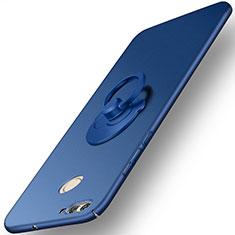 Etui Plastique Rigide Mat et Support Bague Anneau pour Huawei Nova 2 Bleu
