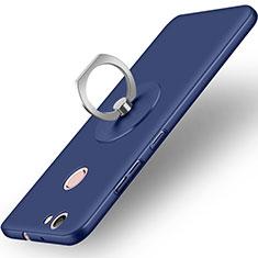 Etui Plastique Rigide Mat et Support Bague Anneau pour Huawei Nova Bleu