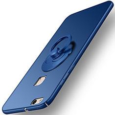 Etui Plastique Rigide Mat et Support Bague Anneau pour Huawei P10 Lite Bleu