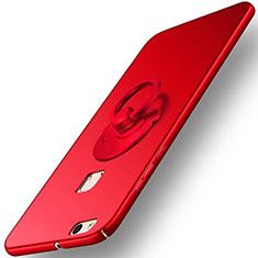 Etui Plastique Rigide Mat et Support Bague Anneau pour Huawei P10 Lite Rouge