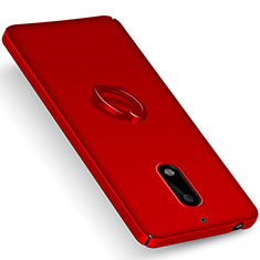 Etui Plastique Rigide Mat et Support Bague Anneau pour Nokia 6 Rouge