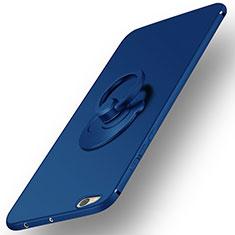 Etui Plastique Rigide Mat et Support Bague Anneau pour Xiaomi Mi 5C Bleu