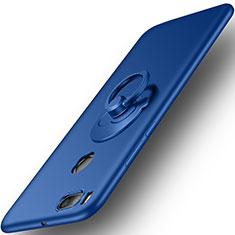 Etui Plastique Rigide Mat et Support Bague Anneau pour Xiaomi Mi 5X Bleu