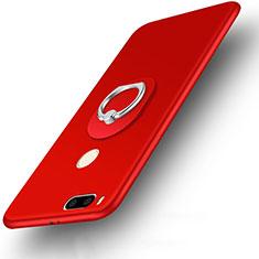 Etui Plastique Rigide Mat et Support Bague Anneau pour Xiaomi Mi A1 Rouge