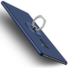 Etui Plastique Rigide Mat et Support Bague Anneau pour Xiaomi Mi Mix Bleu