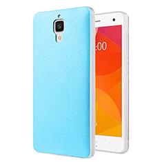 Etui Plastique Rigide Motif Cuir pour Xiaomi Mi 4 Bleu Ciel