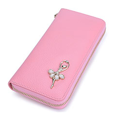 Etui Pochette Cuir Portefeuille Danseuse Universel pour Huawei Honor Magic 2 Rose