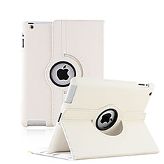 Etui Portefeuille Cuir Rotatif pour Apple iPad 3 Blanc