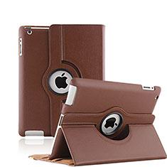 Etui Portefeuille Cuir Rotatif pour Apple iPad 3 Marron