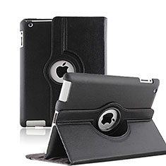 Etui Portefeuille Cuir Rotatif pour Apple iPad 3 Noir