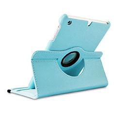 Etui Portefeuille Cuir Rotatif pour Apple iPad Mini 3 Bleu Ciel