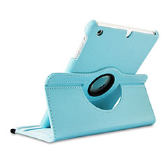 Etui Portefeuille Cuir Rotatif pour Apple iPad Mini Bleu Ciel