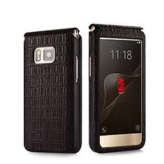 Etui Portefeuille Flip Cuir Crocodile C01 pour Samsung W(2016) Marron
