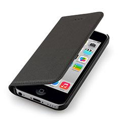 Etui Portefeuille Flip Cuir pour Apple iPhone 5C Noir