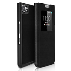 Etui Portefeuille Flip Cuir pour Blackberry KEYone Noir