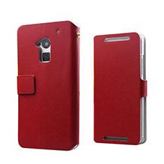 Etui Portefeuille Flip Cuir pour HTC One Max Rouge