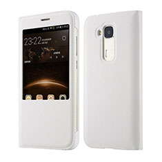 Etui Portefeuille Flip Cuir pour Huawei G8 Blanc