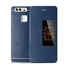 Etui Portefeuille Flip Cuir pour Huawei P9 Bleu
