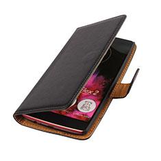 Etui Portefeuille Flip Cuir pour LG G Flex 2 Noir