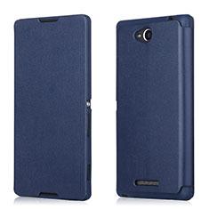 Etui Portefeuille Flip Cuir pour Sony Xperia C S39h Bleu