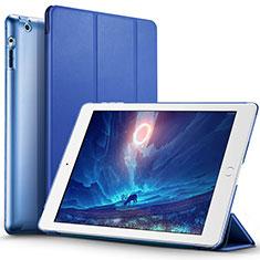 Etui Portefeuille Livre Cuir L01 pour Apple iPad 3 Bleu