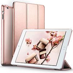 Etui Portefeuille Livre Cuir L01 pour Apple iPad 3 Or Rose