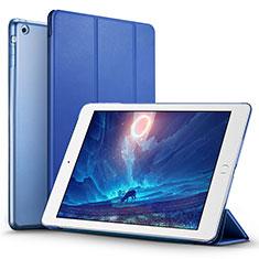 Etui Portefeuille Livre Cuir L01 pour Apple iPad Air Bleu