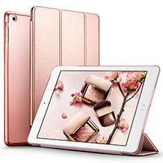 Etui Portefeuille Livre Cuir L01 pour Apple iPad Air Or Rose