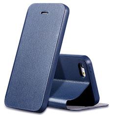 Etui Portefeuille Livre Cuir L01 pour Apple iPhone 5 Bleu