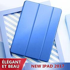 Etui Portefeuille Livre Cuir L01 pour Apple New iPad 9.7 (2017) Bleu