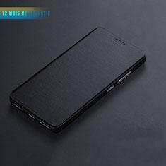 Etui Portefeuille Livre Cuir L01 pour Huawei Honor 7 Dual SIM Noir