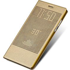 Etui Portefeuille Livre Cuir L01 pour Huawei Honor V8 Max Or