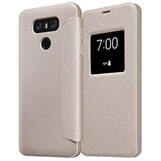 Etui Portefeuille Livre Cuir L01 pour LG G6 Or