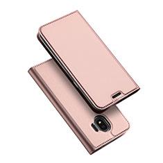 Etui Portefeuille Livre Cuir L01 pour Samsung Galaxy J2 Pro (2018) J250F Or Rose