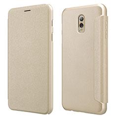 Etui Portefeuille Livre Cuir L01 pour Samsung Galaxy J7 Plus Or