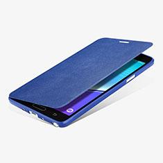Etui Portefeuille Livre Cuir L01 pour Samsung Galaxy Note 4 Duos N9100 Dual SIM Bleu
