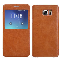 Etui Portefeuille Livre Cuir L01 pour Samsung Galaxy Note 5 N9200 N920 N920F Marron