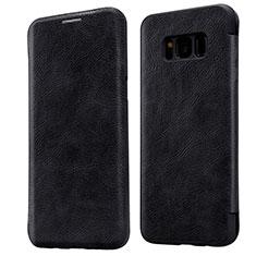 Etui Portefeuille Livre Cuir L01 pour Samsung Galaxy S8 Noir
