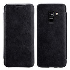 Etui Portefeuille Livre Cuir L01 pour Samsung Galaxy S9 Noir