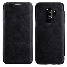 Etui Portefeuille Livre Cuir L01 pour Samsung Galaxy S9 Plus Noir