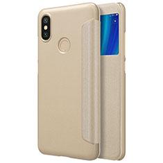 Etui Portefeuille Livre Cuir L01 pour Xiaomi Mi A2 Or