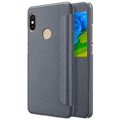 Etui Portefeuille Livre Cuir L01 pour Xiaomi Redmi Note 5 Gris