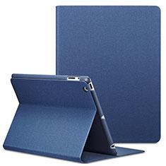 Etui Portefeuille Livre Cuir L02 pour Apple iPad 4 Bleu